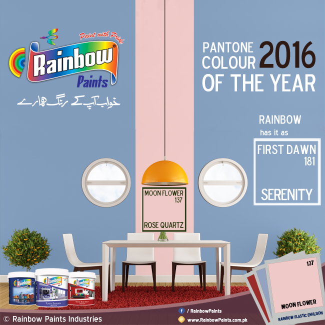 Rainbow Paints - Colour of the Year 2016 - Serenity/First Dawn & Rose Quartz/Moon Flower